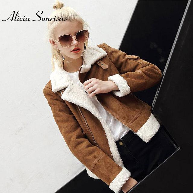 2020 Faux Shearling Sheepskin Coat Women Leather Thick Suede Jacket Women Autumn Winter Lambs Wool Short Motorcycle Coats UV3001