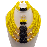 Yellow Black African Costume Beads Jewelry Set Dubai Gold Jewelry Set Fashion Party Jewelry Set Free Shipping
