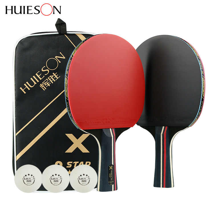 7-layer Pure Wood Table Tennis Racket Set Double Face Pimples-in Racket Rubber With 3 Training Ball