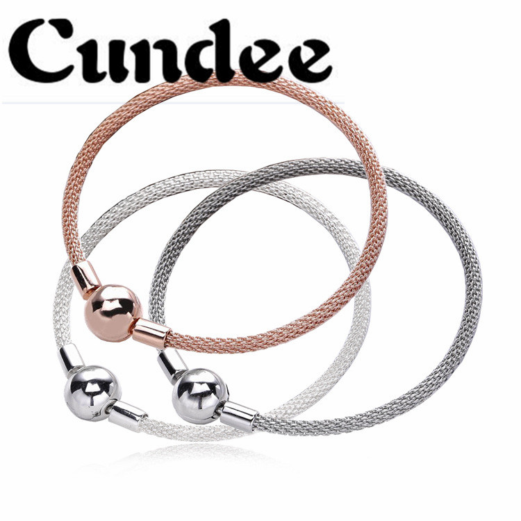 Bracelet 925 Sterling-Silver-Jewelry Sterling Silver Mesh Bangle Bracelet for Women DIY Fits European Brand Silver Charm Beads sterling silver 925 fits chamilia charms bracelet motorcycle sports design charm beads european style women diy jewelry