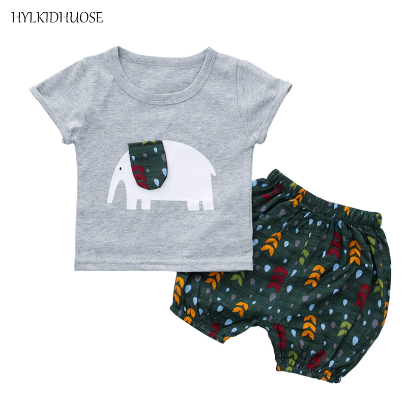 HYLKIDHUOSE Summer Baby Boys Clothing Sets Elephant T Shirt Shorts 2 Piece Infant Clothes Children Kids Sports Casual Clothes sun moon kids boys t shirt summer
