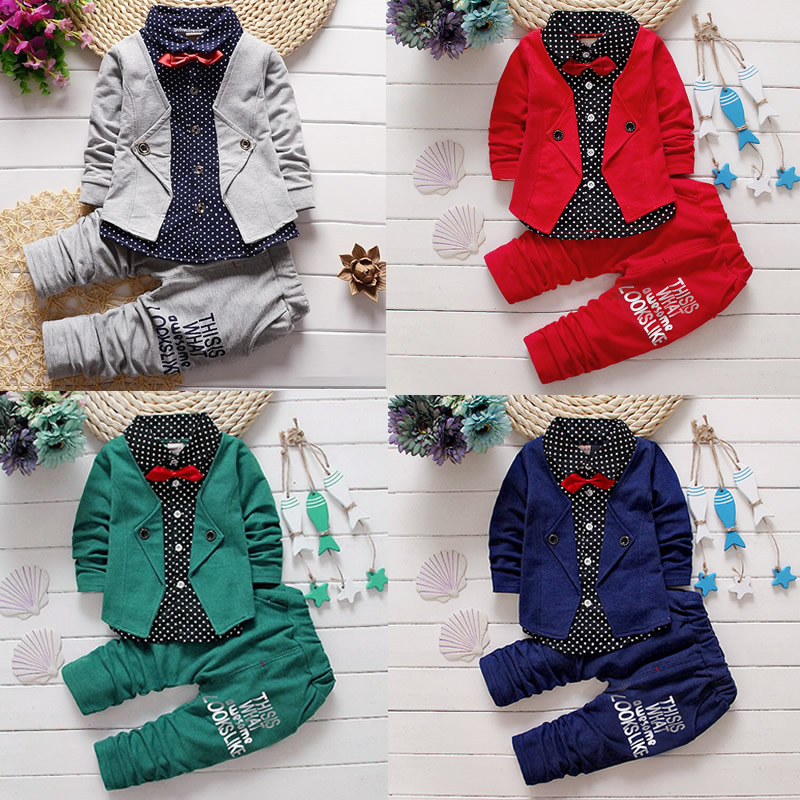 2017 Fashion 2pcs Toddler Kids Baby Boy Clothes T-shirt Tops Long Pants Trousers Outfit Gentleman Set Formal casual pants tops 2016 hot selling baby kids girls one piece sleeveless heart dots bib playsuit jumpsuit t shirt pants outfit clothes 2 7y