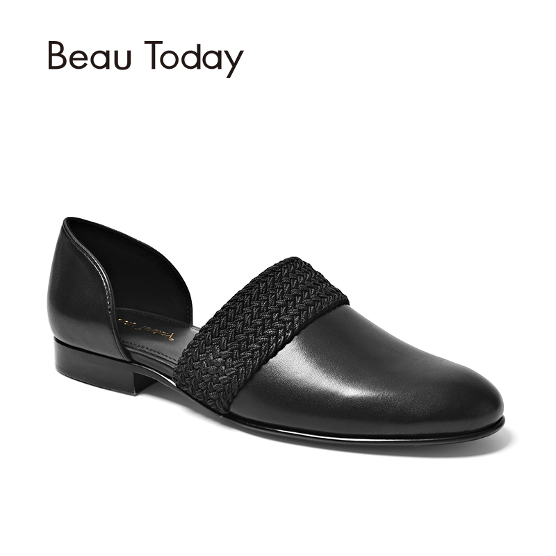 BeauToday Women Sandals Decorated with Hemp Rope Genuine Leather Calfskin Slip-on Cover heel Female Shoes Brand Handmade 30048 beautoday loafers women top quality brand flats genuine leather metal decorated square toe calfskin shoes mix colors 15701