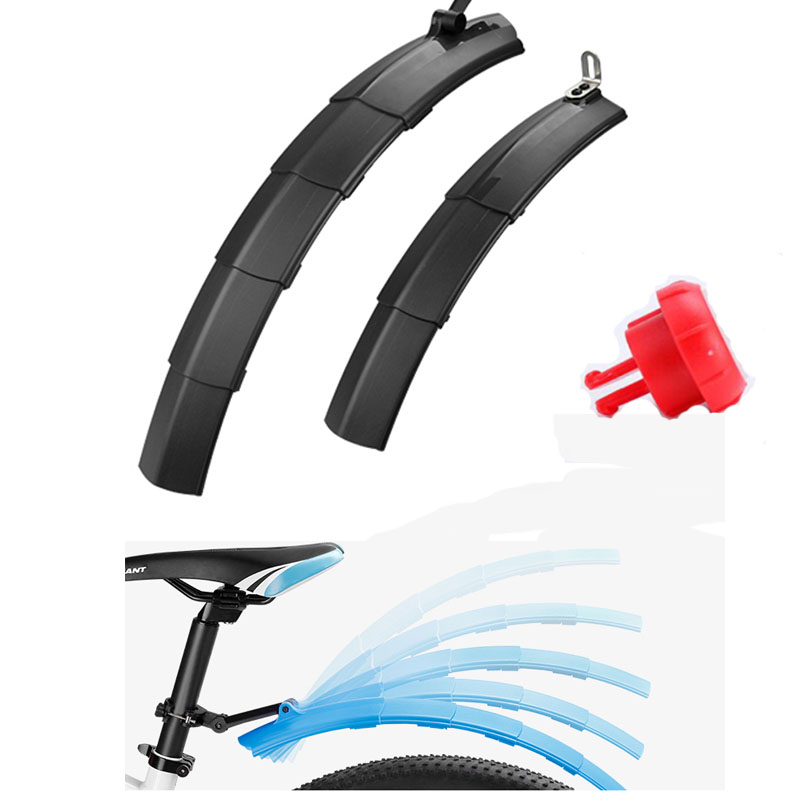 GUB 2pcs Telescopic Folding Bicycle Fenders with Taillight Quick Release MTB Front Rear Mudguard Cycling Parts Bike Fenders