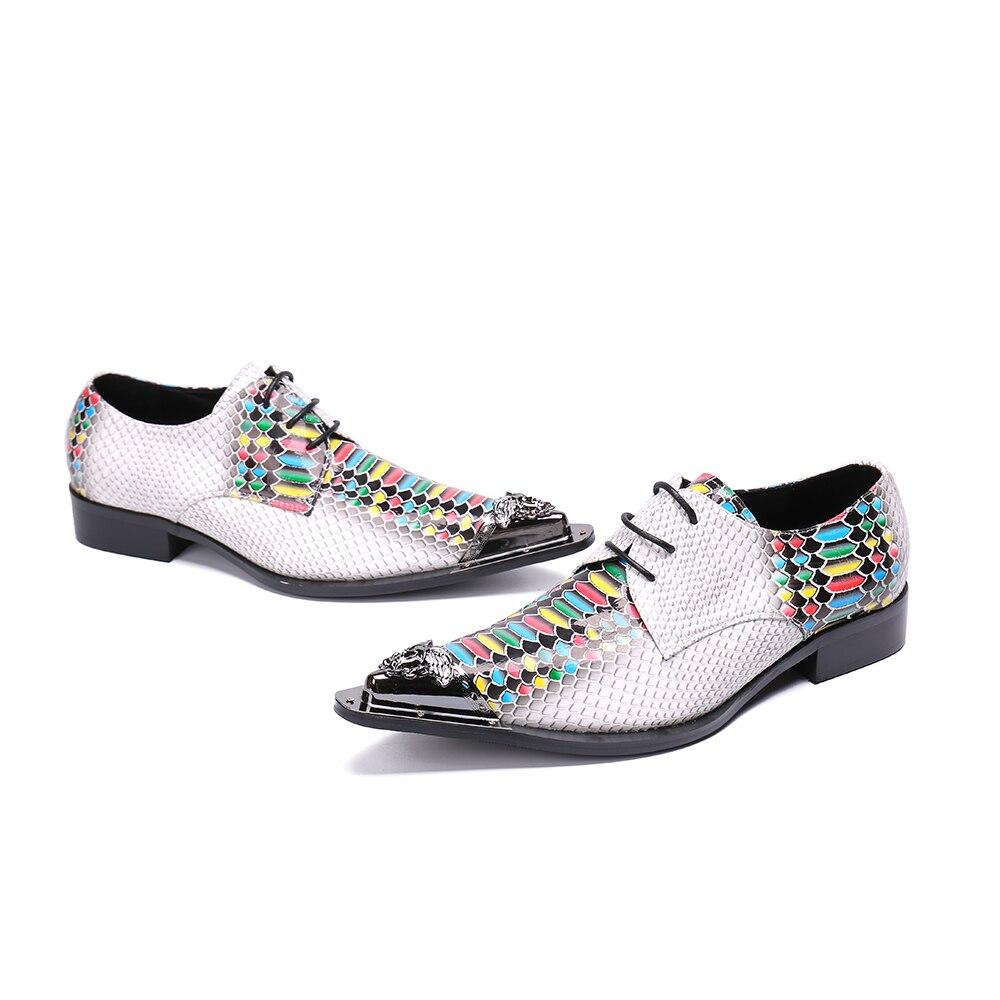 colorido De Vestido Real Multi Dos Oxfords Multicolor Bella Christia Branco Homens Até Sapatos Moda Designer Casamento Do Couro Negócios Rendas n1IwHq