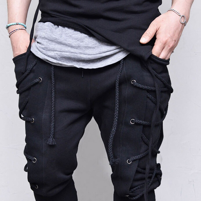 Bigsweety Men's Side Lace-up Banded Pants 2018 Fashion Trousers Retro Medieval Viking Navigator Pants Men Casual Loose Pant Male