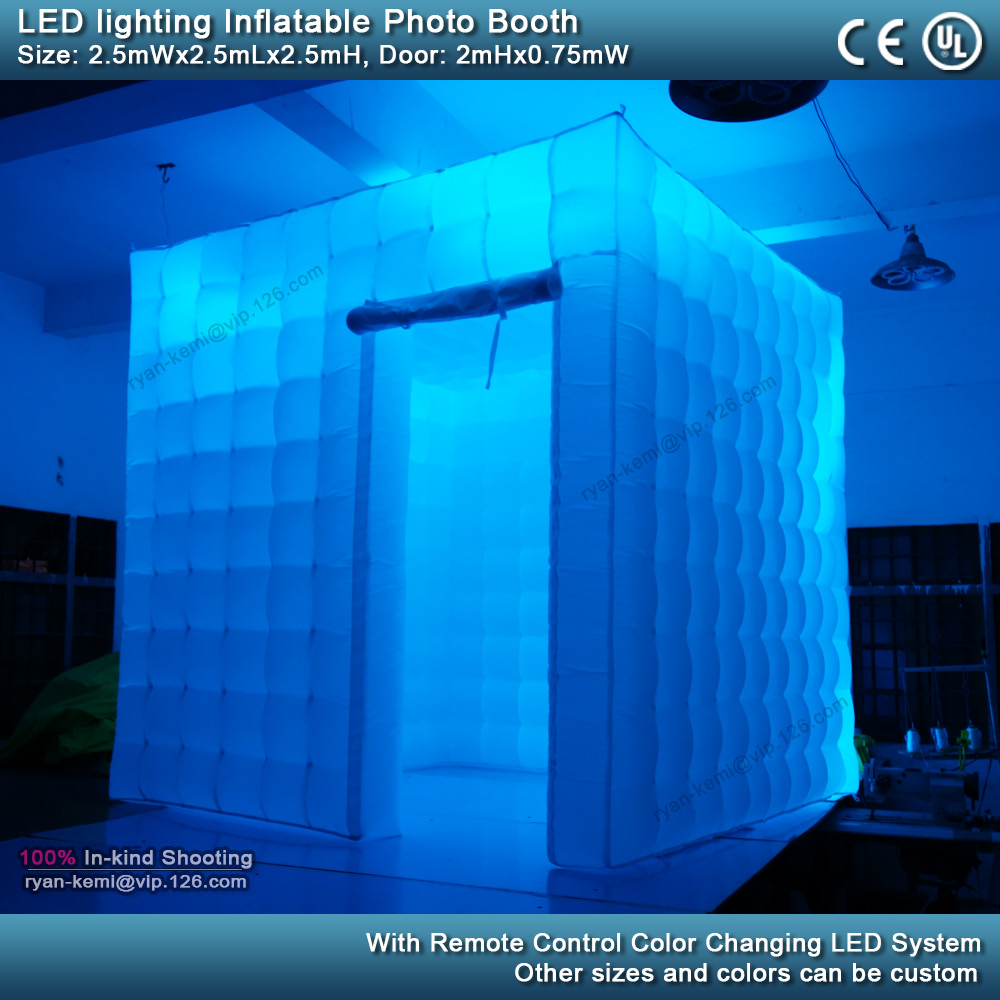 2.5m 8.2ft inflatable photo booth LED lighting portable inflatable photo tent enclosure cube tent with blower