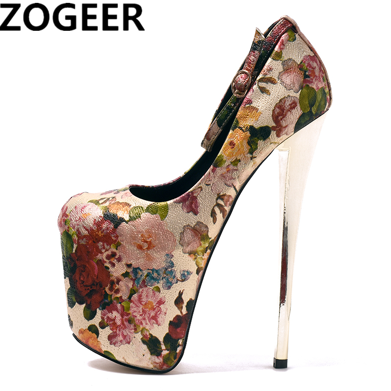 Plus Size 47 19cm Extreme High Heels Sexy Ethnic Fetish Round Toe stiletto Shoes Flower Print