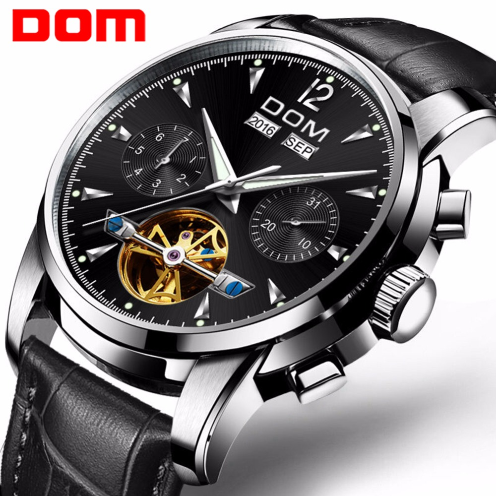 DOM Men Mechanical Watch Waterproof Leather Fashion Luxury Brand Man Sports Watches Mens Multifunctional Wristwatch M-75L-1MW все цены
