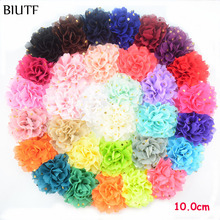100pcs/lot 4'' Large Chiffon Gold Polka Dot Flower Fabric Floral Hairclip Headband Dress Decoration 32 Color H0251