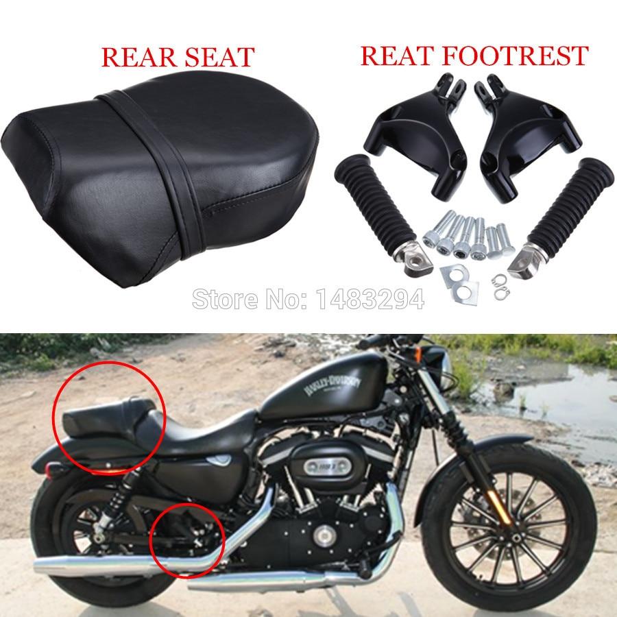 Passenger Seat SET For Harley Sportster 883 1200 XL 07-13 Black Rear Foot Peg