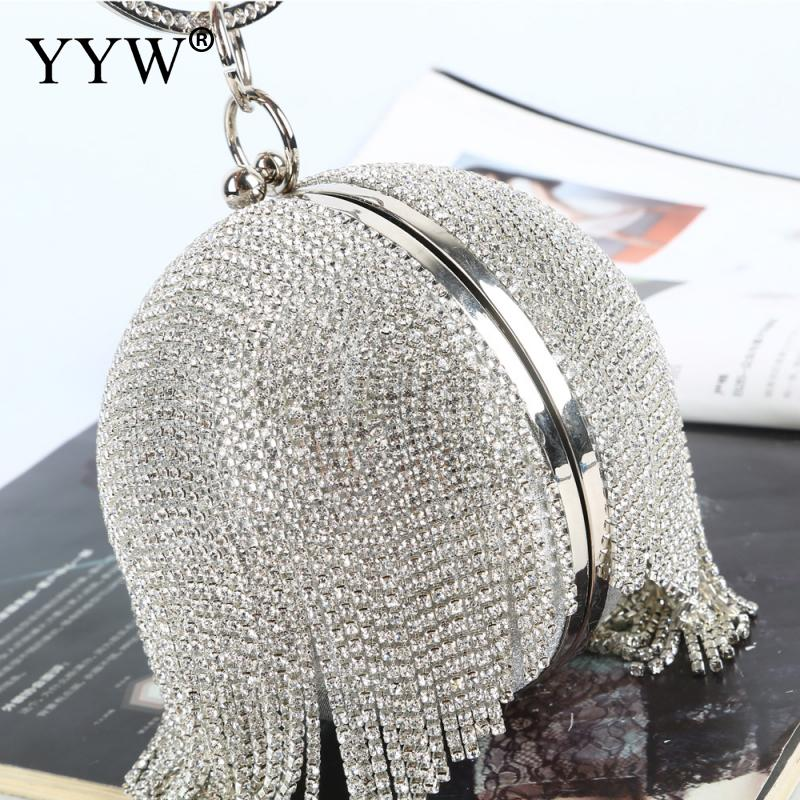 Sliver Diamonds Rhinestone Round Ball Evening Bags For Women 2018 Fashion Mini Tassels Clutch Bag Ladies Ring Handbag Clutches(China)
