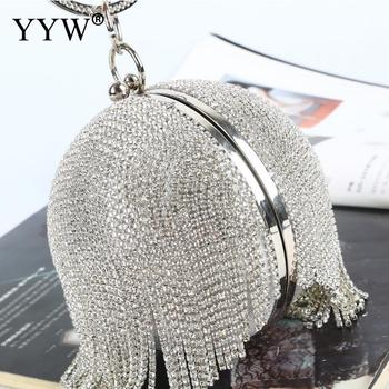 Sliver Diamonds Rhinestone Round Ball Evening Bags For Women 2020 Fashion Mini Tassels Clutch Bag Ladies Ring Handbag Clutches