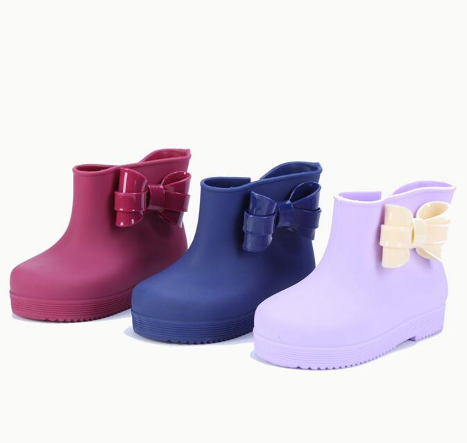 Mini Melissa 2018 New Winter Boots Plastic Bow with Childrens Fashion PVC Rain Boots Candy Flavor Water Shoes Keep Warmer