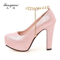 Fanyuan Spring Super High Heels Womens Shoes Ankle Strap Women Platform Pumps Luxury Pearl Chain Ladies Party Wedding Shoes