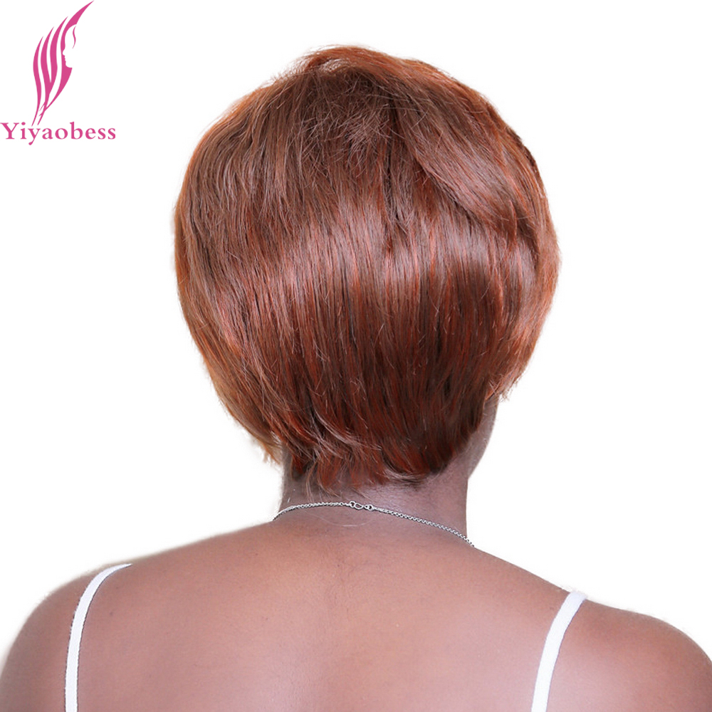 Yiyaobess 30cm 33# Straight Brown Short Wigs For Black Women Heat Resistant Synthetic Hair Highlights Color Free Shipping