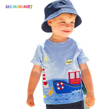 SLKMSWMDJ Cotton Child Clothes Summer O-Neck Tee Tops Kids Boys Girls T Shirt Cartoon Striped Baby T-shirt Short Sleeve 1-6Years summer lovely baby boys short sleeve t shirt kids striped turtleneck neck tee tops polo shirt tops for 2 7 years teens