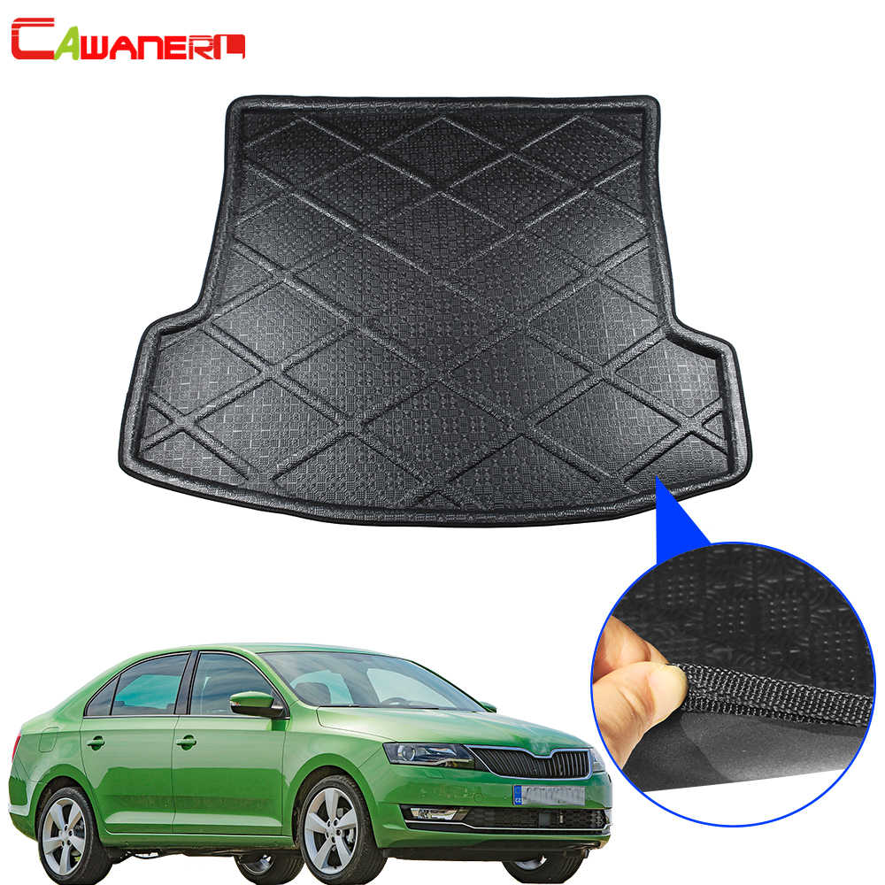 Cawanerl Car Tray Boot Liner Floor Trunk Mat Luggage Mud Pad Cargo Protector Carpet Accessories For Skoda Rapid 2013-2018