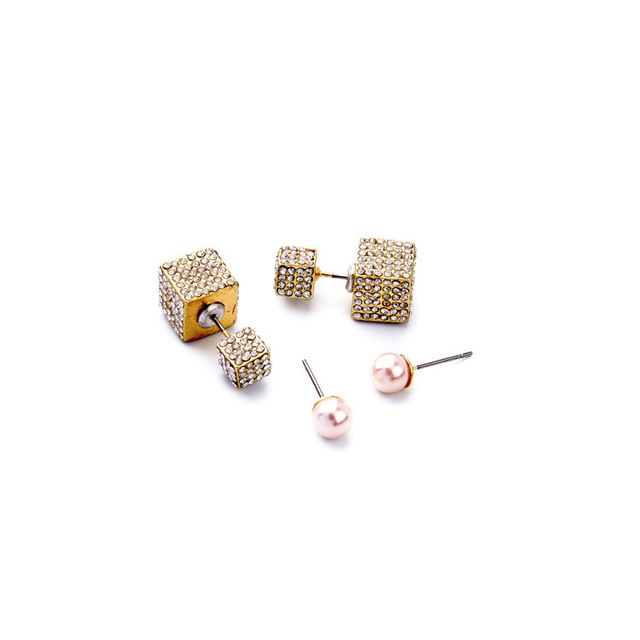 2016 New Style Famous Brand V F Jewelry Double Side Cubo Crystal Earring Set Pearl Earring Factory Wholesale E2239