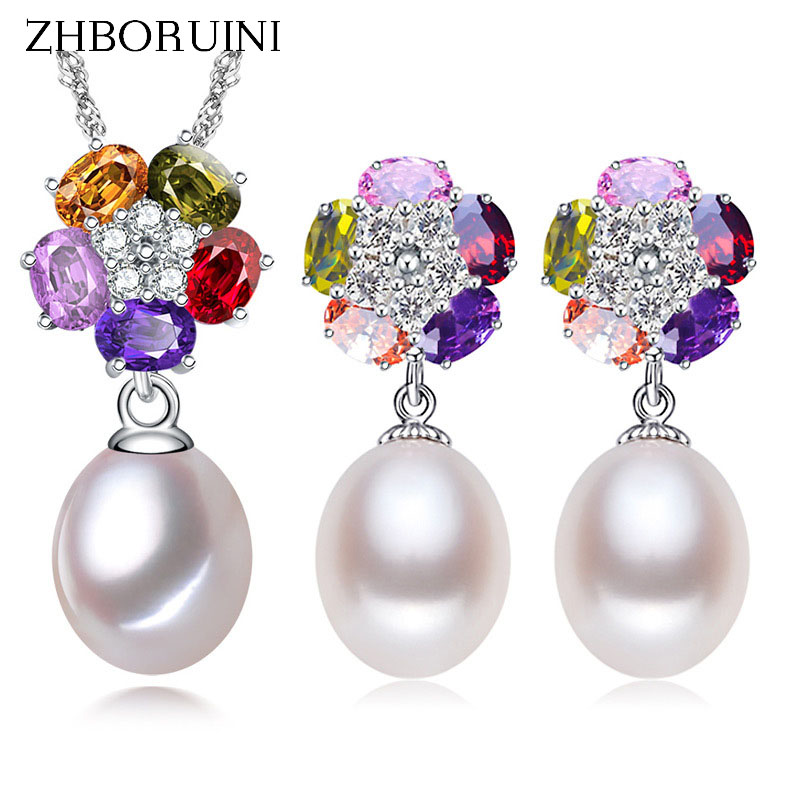 ZHBORUINI 2017 Pearl Jewelry sets Natural Freshwater Pearl 925 Sterling Silver Colour Flower Earrings Pendants For Women Gift