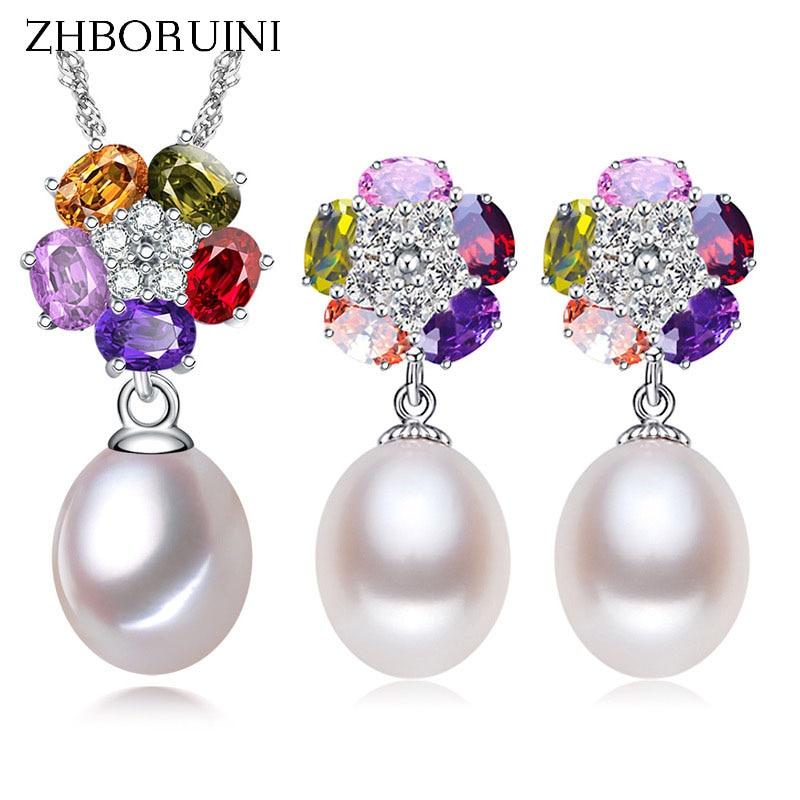 ZHBORUINI 2019 Conjuntos de joyas de perlas Perlas de agua dulce naturales de color plata de ley 925 pendientes de la flor colgantes para las mujeres regalo