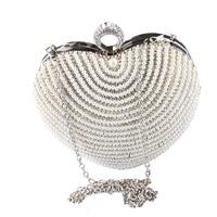 TANGSONGGUCI HOT Beaded Heart Design Diamonds Women Evening Bags Handle Rhinestones Clutch Purse For Wedding Bridal