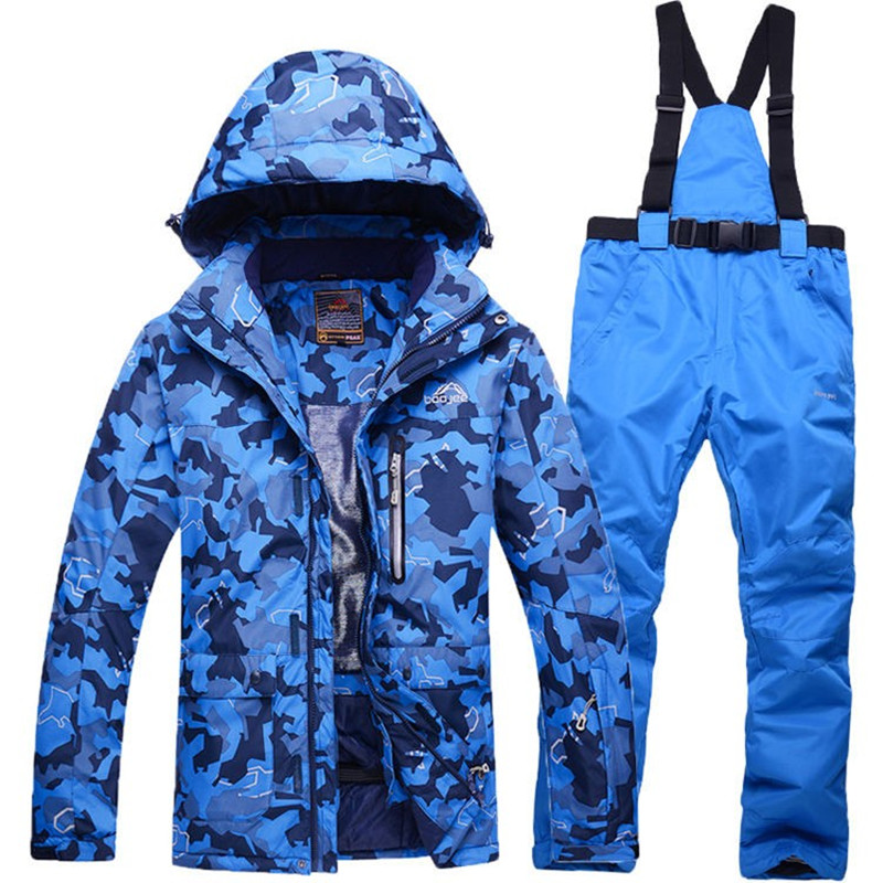 Free Shipping 2017 Men's Ski Suit Waterproof Windproof Ski Jacket + Trousers Thicken Warm Clothing Pants Men Snowboard Mountaine купить недорого в Москве