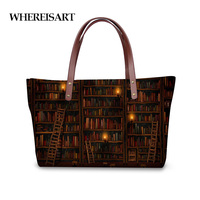 WHEREISART Vintage Library Book Shelf Printing Women Handbags Tote Shoulder Bag Woman Designer Large Bolsa Feminina Sac a Main