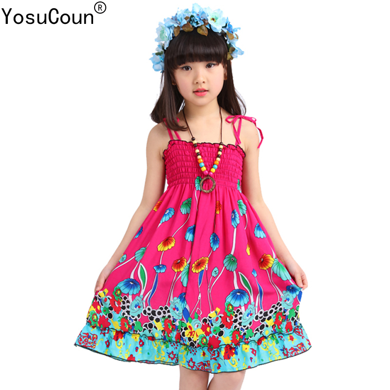 Girls Dress Summer Beach Bohemian Kid Dresses For Girls Shoulderless Clothes Children Clothing Sundress Child Costume Floral new summer style girls dresses fashion knee length beach dresses for girls sleeveless bohemian children sundress girls yellow 3t