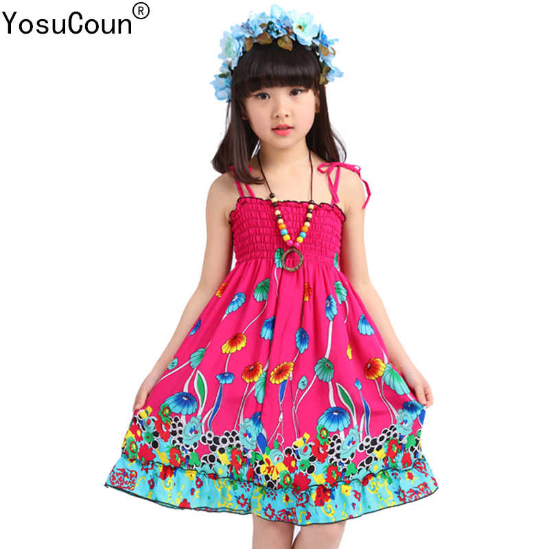 bc983ba6cb Girls Dress Summer Beach Bohemian Kid Dresses For Girls Sleeveless Clothes  Children Clothing Sundress Child Costume