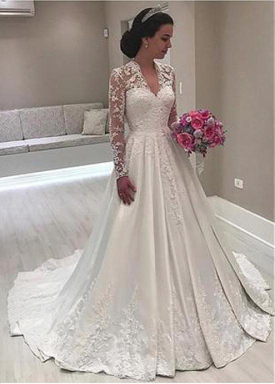 Image 2 - DZW368 Long Sleeves Vestido De Noiva 2019 Muslim Wedding Dresses A line Deep V neck Satin Lace Boho Wedding Gown Bridal-in Wedding Dresses from Weddings & Events