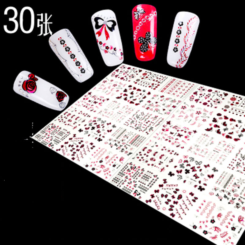 30 sheets Nail Art Sticker Self-adhesive Nail Decal Floral Design 30 Sheets 3D Slef-Adhesive Nail Art Stickers Decoration address adhesive stickers labels 100 100mm 500 sheets thermal papers for labeling and sealing marks wholesale with a good price