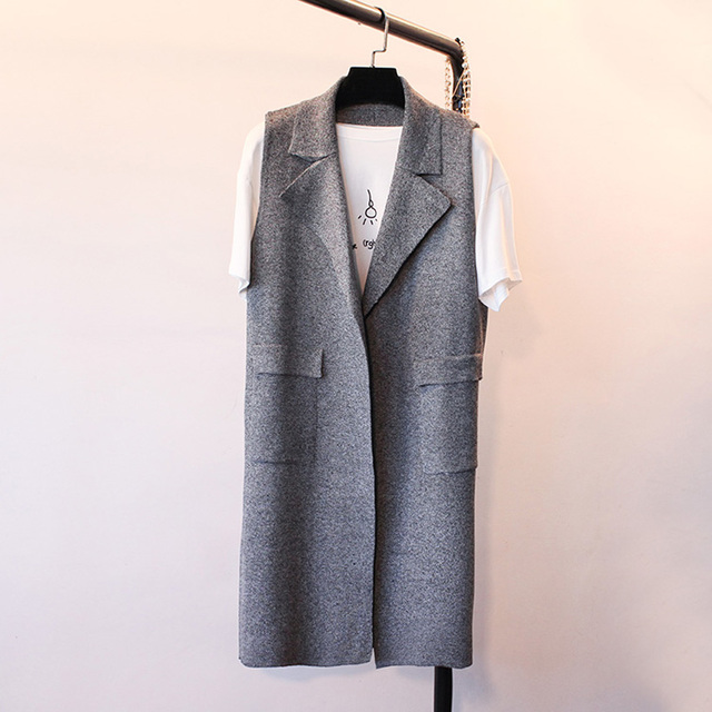 Women's Cashmere Wool Knit Suit Vest Waistcoat In The Long Section Autumn Winter Vest Sleeveless Casual Brand female Shirt Coats