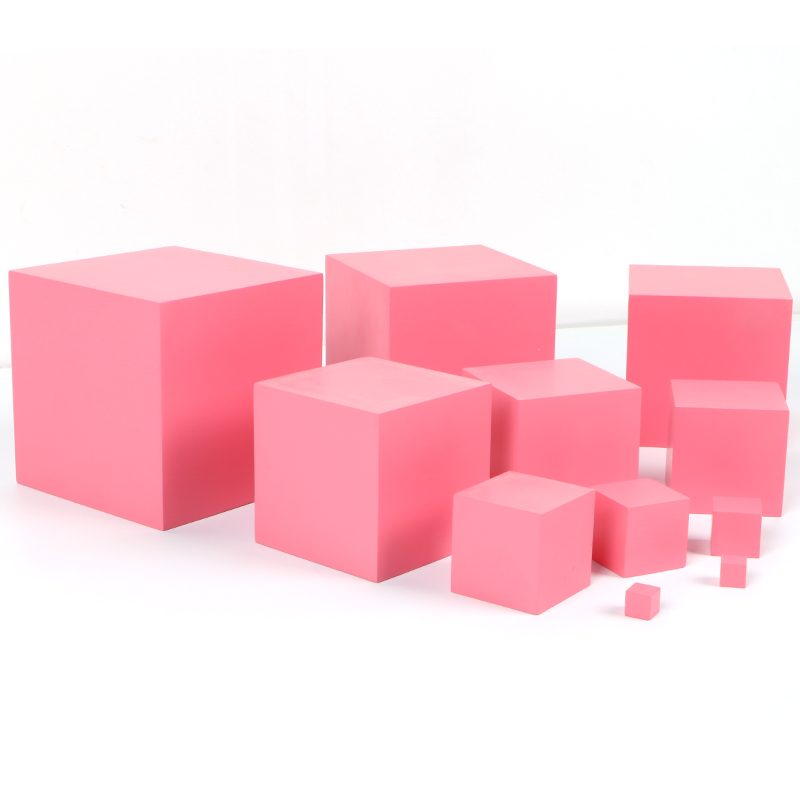 Gentle High Quality Wooden Montessori Family Version Pink Tower Childhood Education Preschool Training Course Children Day Gift H2066z Fragrant Aroma Home