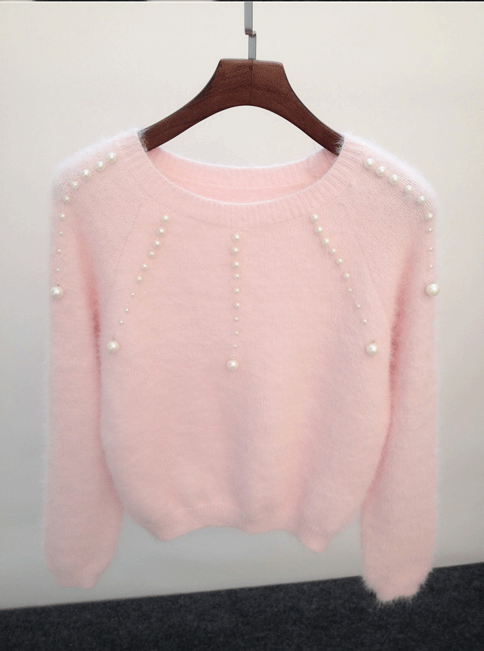 White Sweater 2017 Autumn Korean Style Cute Pearl Beading Knitted ...