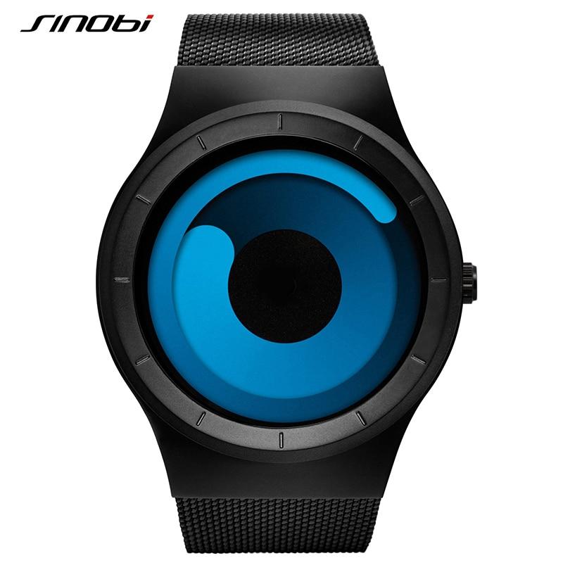 SINOBI Creative Rotation Stainless Steel Mesh Quartz Men Watch Luxury Brand Male Sport Wrist Watch Waterproof Relogio Masculino