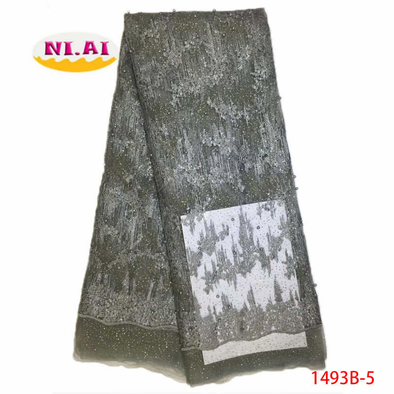 2018 High Quality Gray Tulle Beaded African Lace Fabric Gold Stones Embroidered French Nigerian Lace Fabrics