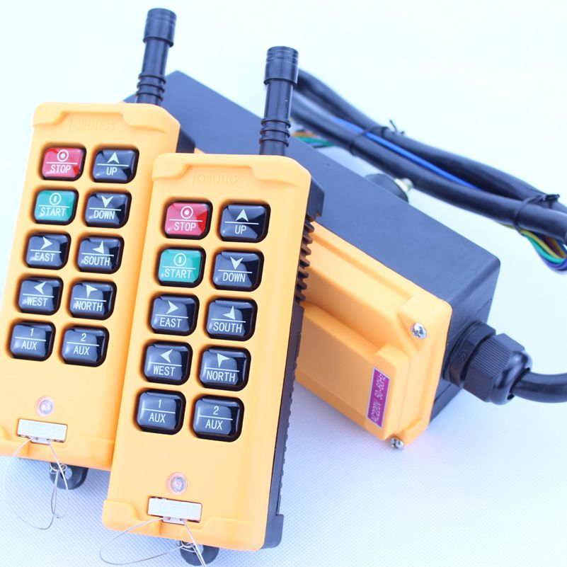 HS-10 (include 2 transmitter and 1 receiver)  crane remote control  Your order note need voltage:380VAC 220VAC 36VAC  24VDC 12v 24v hs 10 industrial remote control crane transmitter 1pcs transmitter and 1pcs receiver