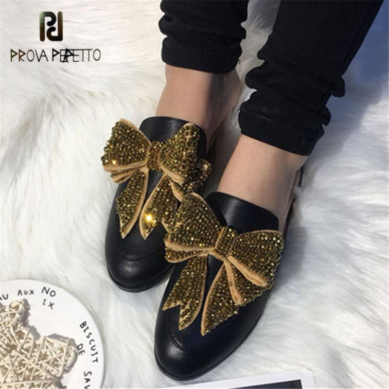 Prova Perfetto Genuine Leather Women Slippers Casual Flat Shoes Woman Crystal Bowknot Slipper Female Mules Flats Ladies Slides цена 2017