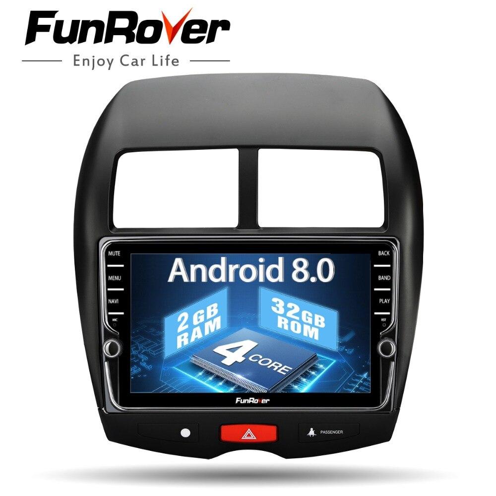 Funrover 9 ''Android 8.0 dvd de voiture Multimédia pour Mitsubishi ASX 2010-17 Peugeot 4008 Citroen C4 Aircross gps Navigati 2G 32G ROM
