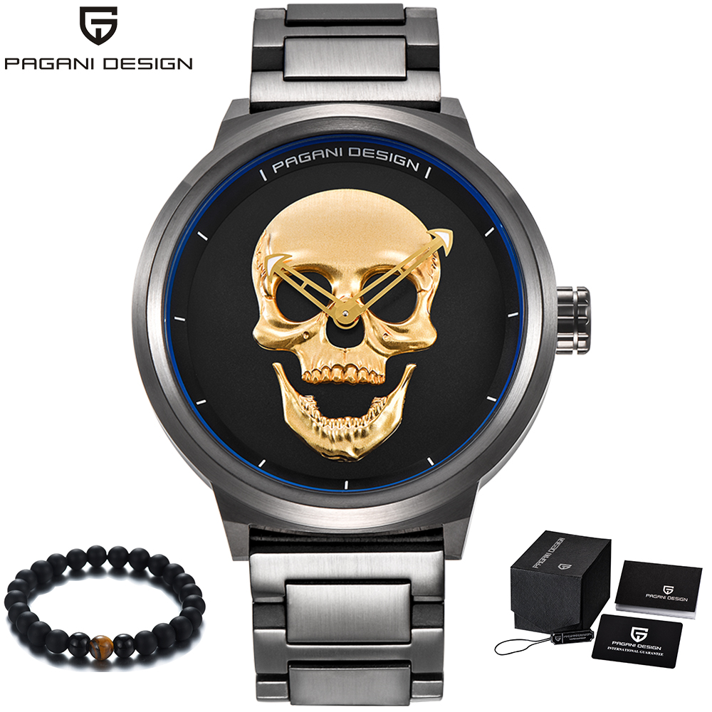 PAGANI Design Luxury Brand Punk Style Skull Watch Men Stainless Steel Band Quartz Military Wristwatch Mens Clock reloj hombrePAGANI Design Luxury Brand Punk Style Skull Watch Men Stainless Steel Band Quartz Military Wristwatch Mens Clock reloj hombre