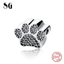 925 sterling silver Original Charms dog footprint Beads with clear CZ Fit personalized pandora bracelets jewelry making gifts hot sale 925 sterling silver charms dog footprint beads with cz stone fit pandora bracelets pendant diy jewelry making gifts