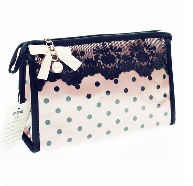 Ladies Cute Travel Necessaries Cosmetic Bags With Dot Bow Brand Portable Make Up Organizers Kits Storage Wash Toiletry Pouch ...