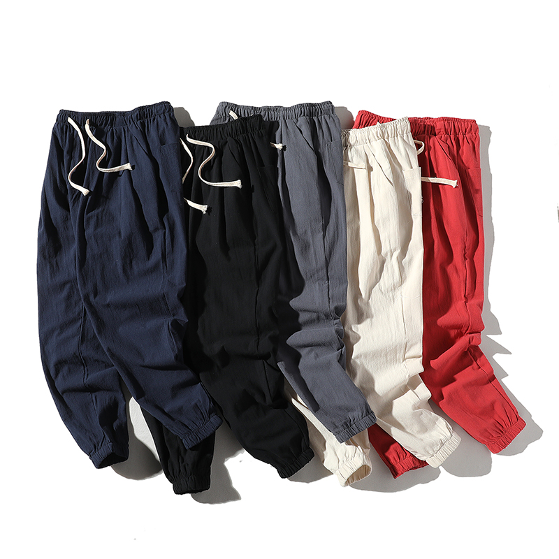 Linen Pants Male Trousers Harem Elastic-Waist Streetwear Fitness Hip-Hop Loose Summer