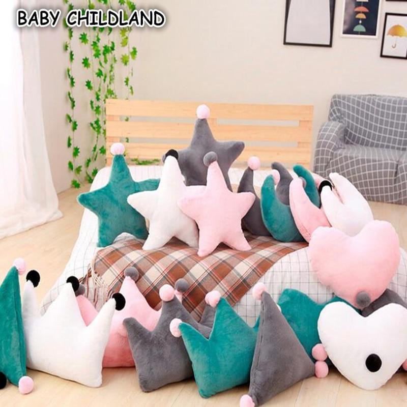 ins play baby pillow bedding pillow star pillow moon Cotton children Pillow Crown Infant ...