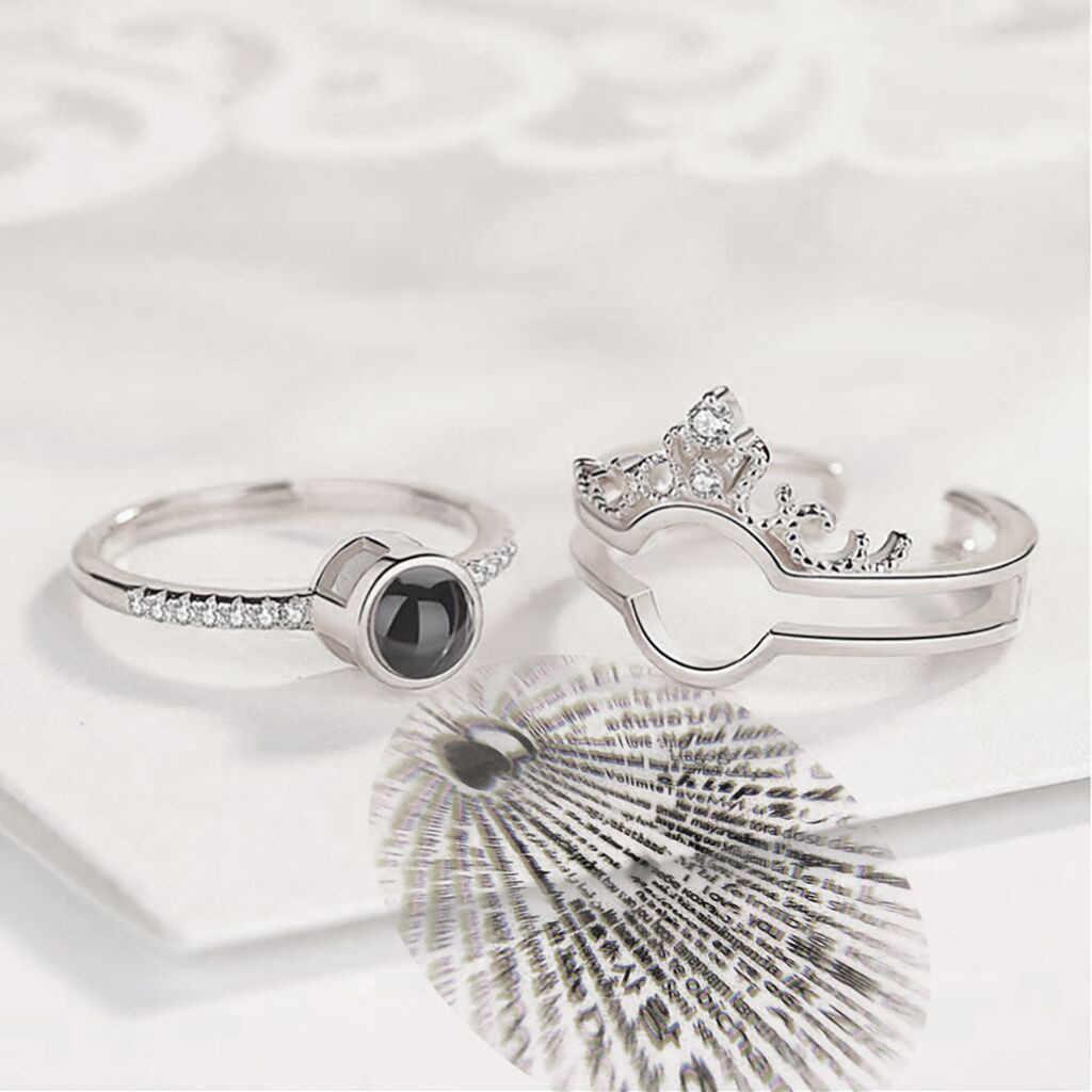 Diomedes 100 языков я люблю тебя романтический подарок кольцо два в одном стразы женские ювелирные изделия Apr17p30