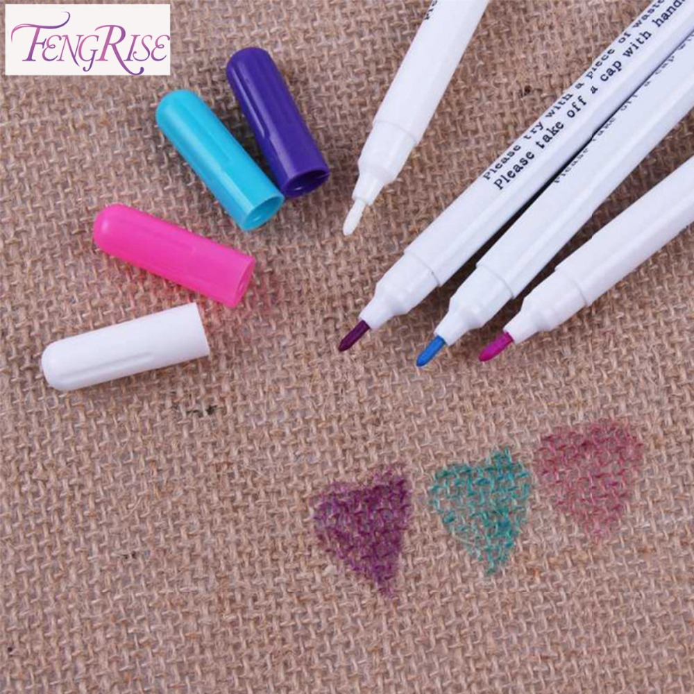 FENGRISE Sewing Accessories 4 pcs Patchwork Needlework Water Erasable Pens Fabric Markers Soluble Cross Stitch Chalk Tool Pencil