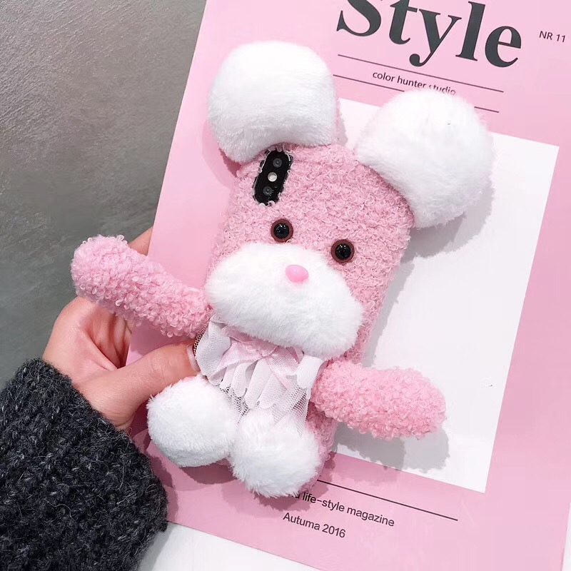 3D cute fluffy pink puppy decompression phone case For iPhone 6 6S 6Plus 6S Plus 7