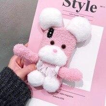 3D милый пушистый розовый щенок декомпрессии Телефон чехол для iPhone 6 6 S плюс 7 P 8 X XS MAX XR крышка 4,7 5,5 6,9 дюймов