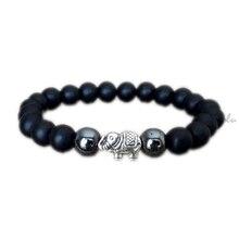 12 pcs/lot bracelet de shungite déléphant chanceux bracelet déléphant indien hématite pour hommes bracelet de guérison de méditation cadeau pour lui